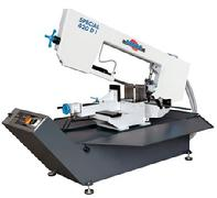 Horizontal double miter cutting band saw for 60 degree cutting left and right