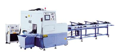 CNC Fully automatic, high speed, precision circular cold sawing machine with material loading magazine.